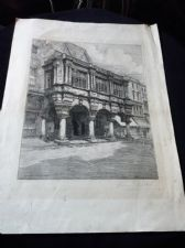ANTIQUE SIGNED ETCHING PRINT HENRY G WALKER EXETER GUILDHALL UNFRAMED